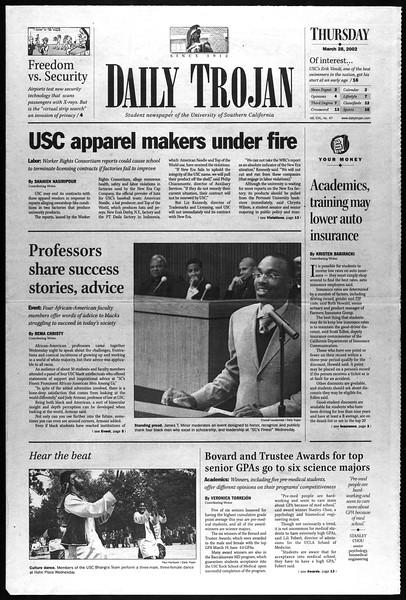 Daily Trojan, Vol. 145, No. 47, March 28, 2002