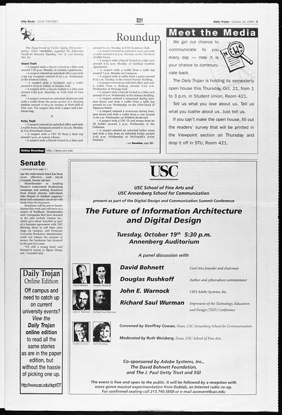 Daily Trojan, Vol. 138, No. 35, October 19, 1999