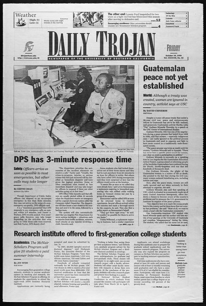 Daily Trojan, Vol. 138, No. 43, October 29, 1999
