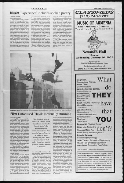 Daily Trojan, Vol. 145, No. 5, January 14, 2002