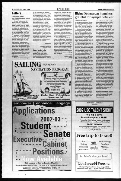 Daily Trojan, Vol. 145, No. 44, March 25, 2002