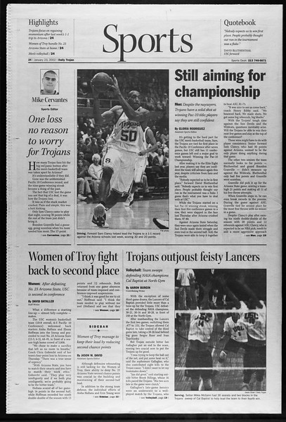Daily Trojan, Vol. 145, No. 10, January 23, 2002