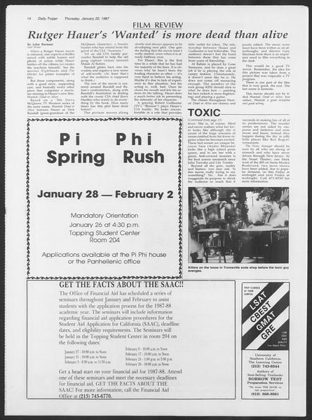 Daily Trojan, Vol. 103, No. 8, January 22, 1987