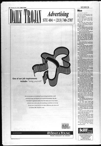 Daily Trojan, Vol. 145, No. 28, February 20, 2002