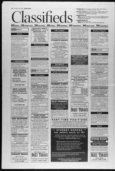 Daily Trojan, Vol. 145, No. 13, January 28, 2002