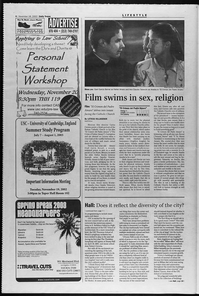 Daily Trojan, Vol. 147, No. 58, November 18, 2002