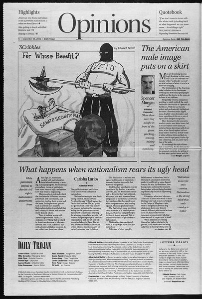 Daily Trojan, Vol. 147, No. 22, September 26, 2002