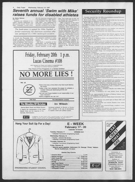 Daily Trojan, Vol. 103, No. 25, February 18, 1987