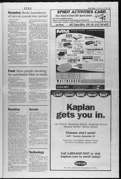 Daily Trojan, Vol. 147, No. 6, September 04, 2002