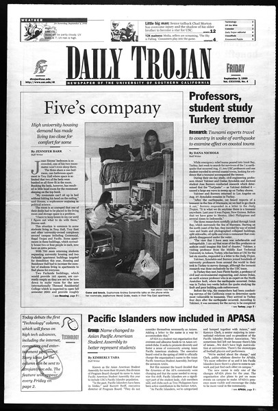 Daily Trojan, Vol. 138, No. 5, September 03, 1999