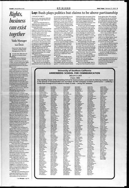 Daily Trojan, Vol. 145, No. 33, February 27, 2002