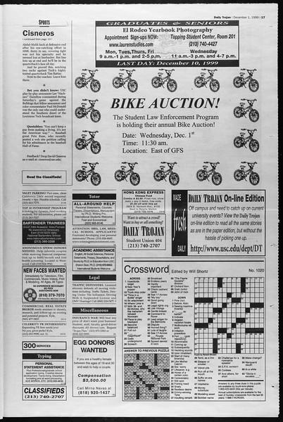 Daily Trojan, Vol. 138, No. 61, December 01, 1999