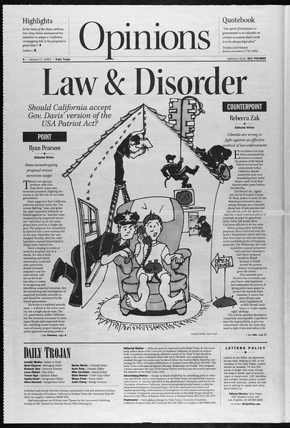 Daily Trojan, Vol. 145, No. 8, January 17, 2002