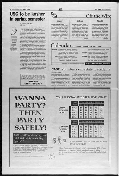 Daily Trojan, Vol. 138, No. 59, November 23, 1999