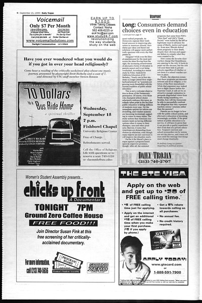 Daily Trojan, Vol. 138, No. 11, September 15, 1999