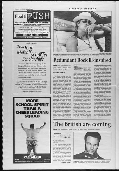 Daily Trojan, Vol. 145, No. 8, January 17, 2002