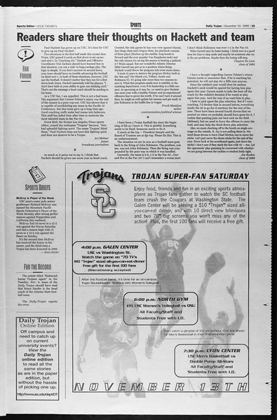 Daily Trojan, Vol. 138, No. 50, November 10, 1999