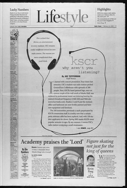 Daily Trojan, Vol. 145, No. 25, February 13, 2002