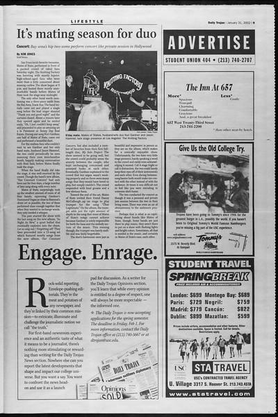 Daily Trojan, Vol. 145, No. 16, January 31, 2002
