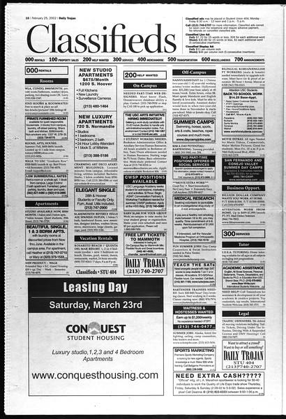 Daily Trojan, Vol. 145, No. 31, February 25, 2002