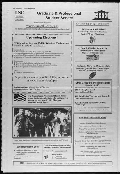 Daily Trojan, Vol. 147, No. 11, September 11, 2002
