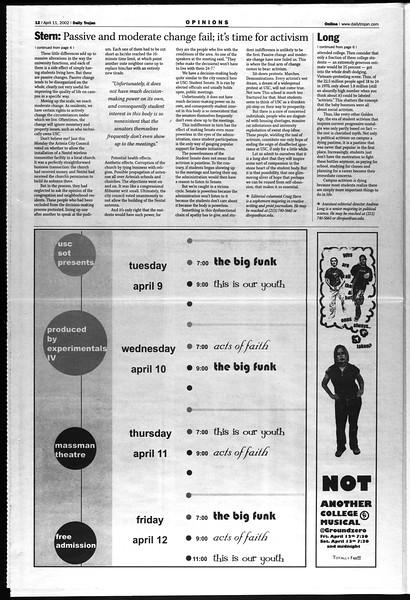 Daily Trojan, Vol. 145, No. 57, April 11, 2002