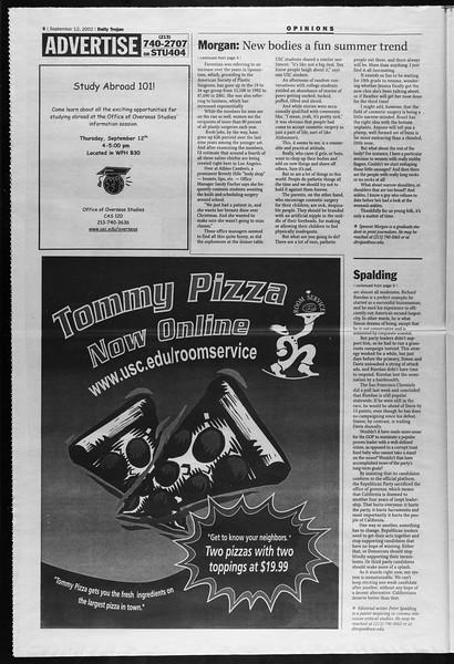 Daily Trojan, Vol. 147, No. 12, September 12, 2002
