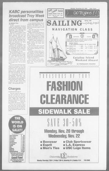 Daily Trojan, Vol. 110, No. 54, November 20, 1989