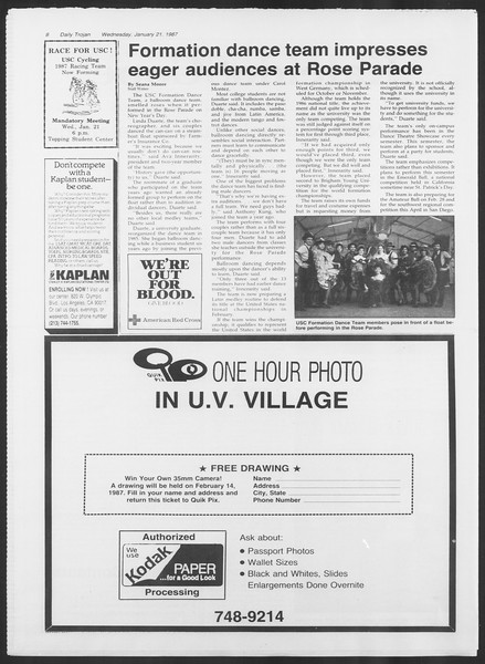 Daily Trojan, Vol. 103, No. 7, January 21, 1987