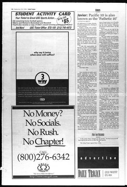 Daily Trojan, Vol. 138, No. 20, September 28, 1999