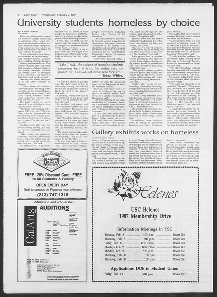Daily Trojan, Vol. 103, No. 17, February 04, 1987