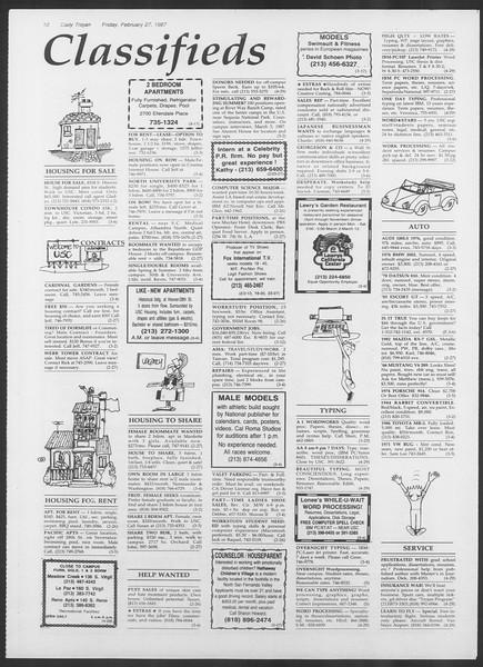 Daily Trojan, Vol. 103, No. 32, February 27, 1987