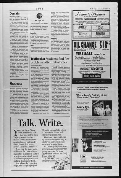 Daily Trojan, Vol. 145, No. 9, January 18, 2002