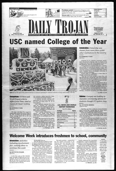 Daily Trojan, Vol. 138, No. 2, August 31, 1999