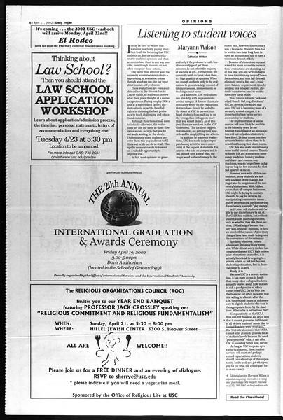 Daily Trojan, Vol. 145, No. 61, April 17, 2002