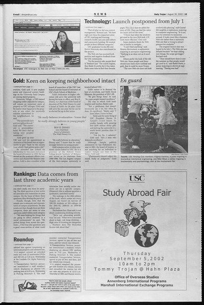 Daily Trojan, Vol. 147, No. 5, August 30, 2002