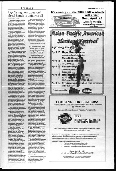 Daily Trojan, Vol. 145, No. 61, April 17, 2002