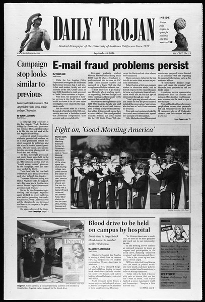 Daily Trojan, Vol. 159, No. 13, September 08, 2006