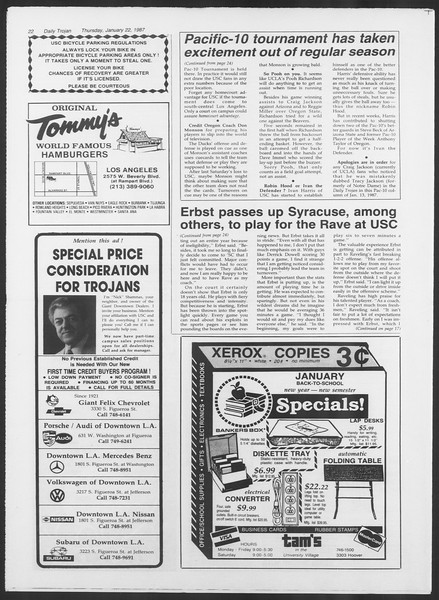 Daily Trojan, Vol. 103, No. 8, January 22, 1987