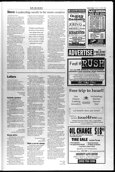 Daily Trojan, Vol. 145, No. 36, March 04, 2002