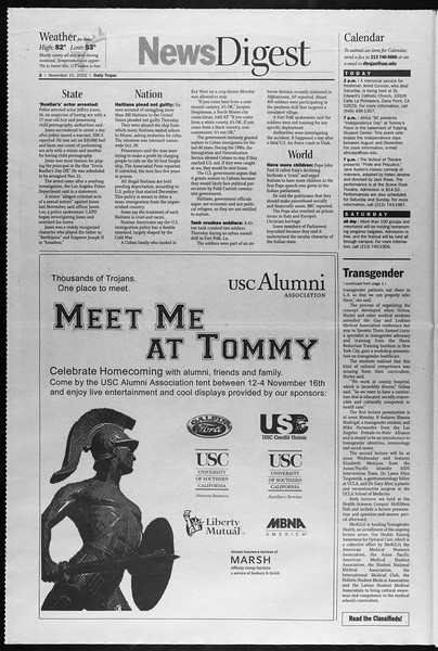 Daily Trojan, Vol. 147, No. 57, November 15, 2002