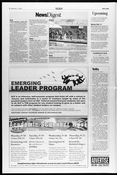 Daily Trojan, Vol. 159, No. 14, September 11, 2006