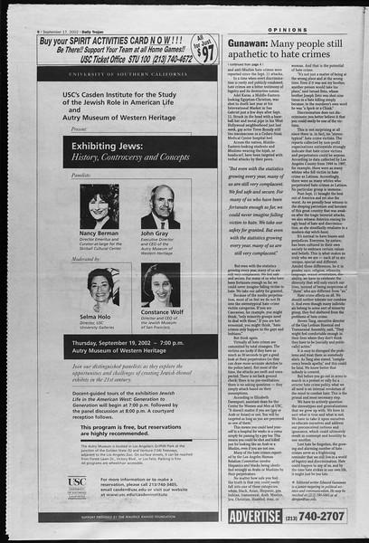 Daily Trojan, Vol. 147, No. 15, September 17, 2002