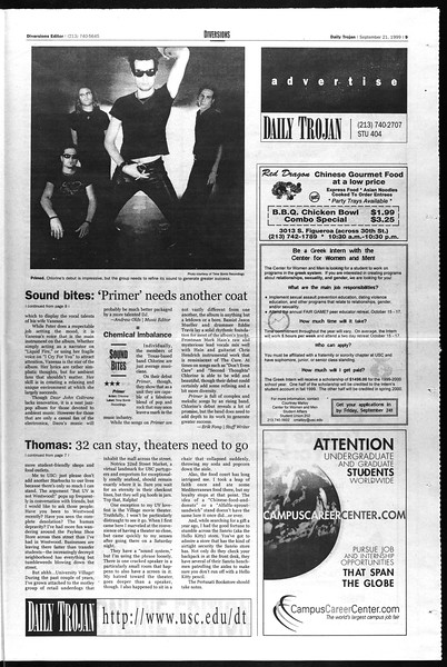 Daily Trojan, Vol. 138, No. 15, September 21, 1999