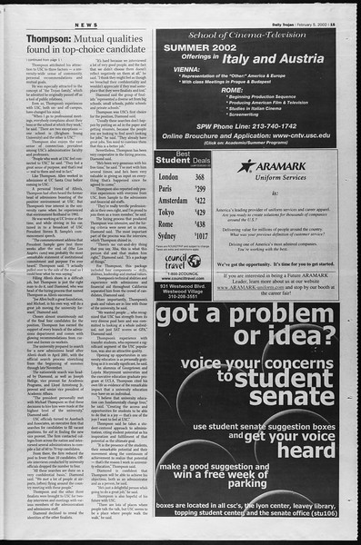 Daily Trojan, Vol. 145, No. 19, February 05, 2002