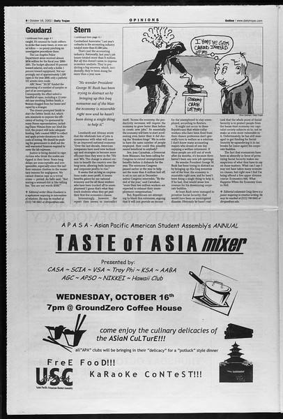 Daily Trojan, Vol. 147, No. 36, October 16, 2002