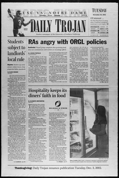 Daily Trojan, Vol. 147, No. 64, November 26, 2002