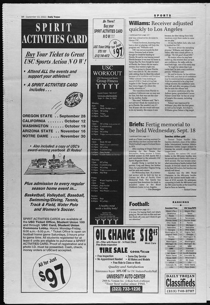 Daily Trojan, Vol. 147, No. 13, September 13, 2002