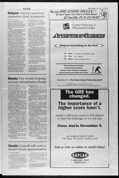 Daily Trojan, Vol. 147, No. 45, October 29, 2002