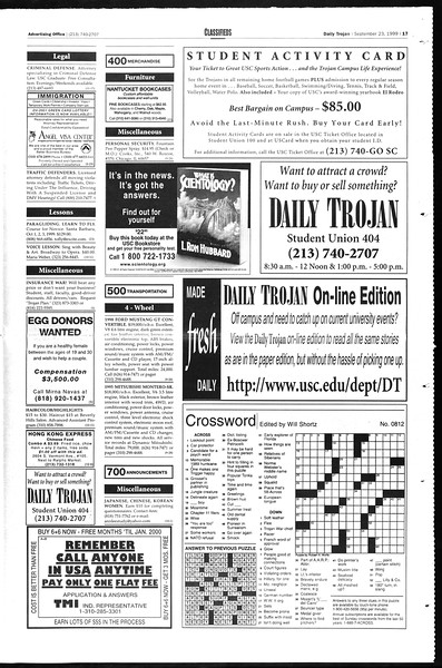 Daily Trojan, Vol. 138, No. 17, September 23, 1999